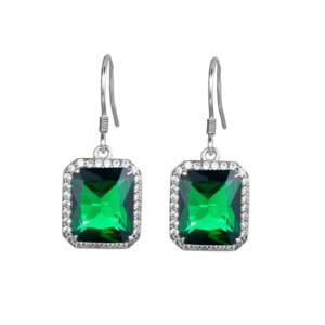 Revere Earrings Silver (Emerald)