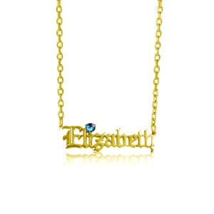 Custom Name Necklace 1 Gold (Blue Topaz)