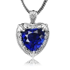 Victorian Heart Necklace Silver (Sapphire)