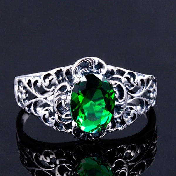 Mrs Vintage Ring Silver (Emerald)