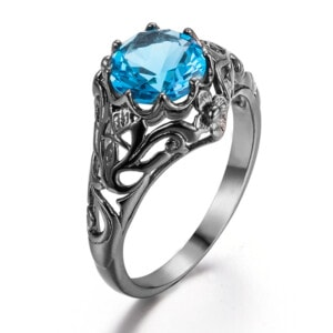 Lure Ring Black (Blue Topaz)