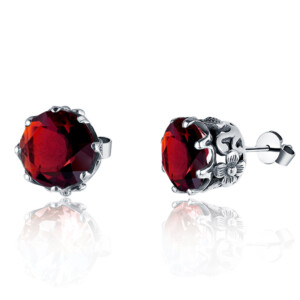 Lure Stud Earrings Silver (Garnet)