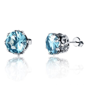Lure Stud Earrings Silver (Aquamarine)