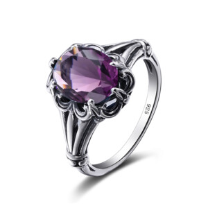 Bunched Love Ring Silver (Amethyst)