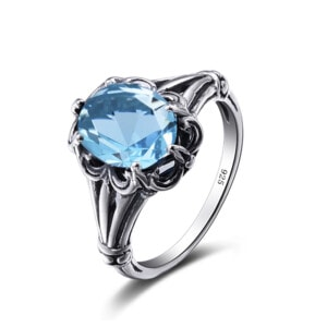 Bunched Love Ring Silver (Aquamarine)