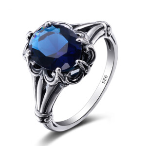 Bunched Love Ring Silver (Sapphire)