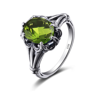 Bunched Love Ring Silver (Peridot)