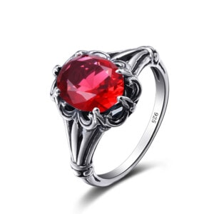 Bunched Love Ring Silver (Ruby)
