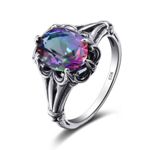 Bunched Love Ring Silver (Mystic Fire Topaz)