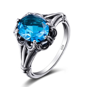 Bunched Love Ring Silver (Blue Topaz)