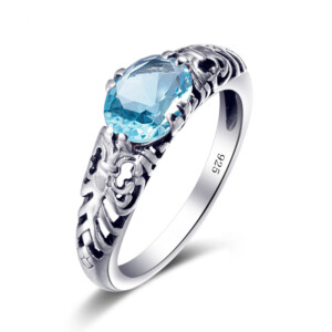 Belle Ring Silver (Aquamarine)