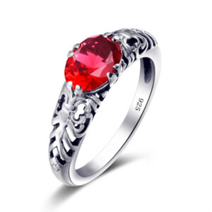 Belle Ring Silver (Ruby)