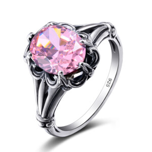 Bunched Love Ring Silver (Pink Tourmaline)
