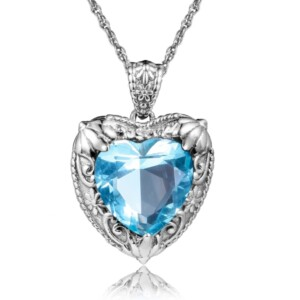 Victorian Heart Necklace Silver (Aquamarine)