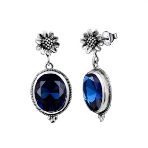 Blossom Earrings Silver (Sapphire)