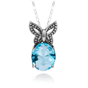 Miss Flutter Necklace (Aquamarine)