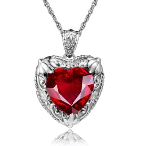 Victorian Heart Necklace Silver (Ruby)