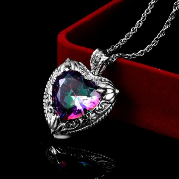 Victorian Heart Necklace Silver (Mystic Fire Topaz)