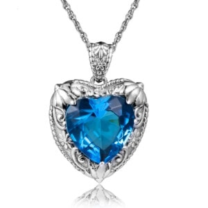 Victorian Heart Necklace Silver (Blue Topaz)