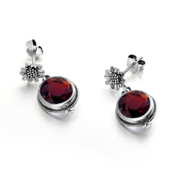 Blossom Earrings Silver (Garnet)