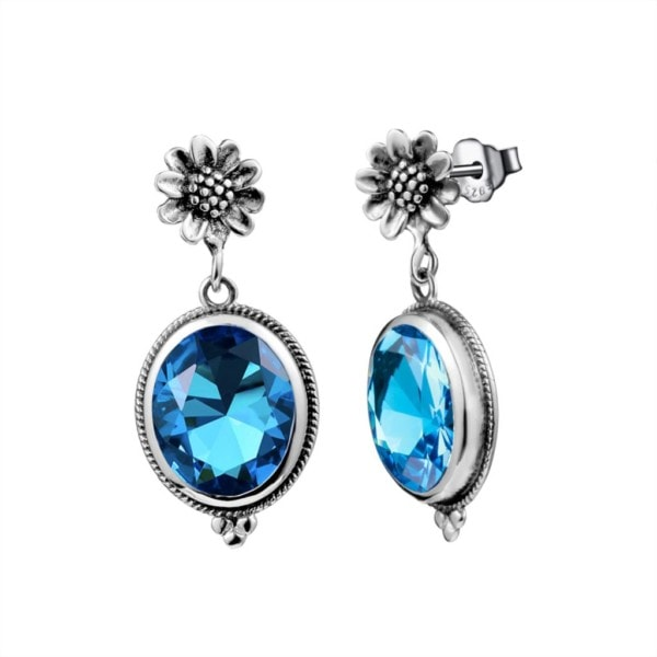 Blossom Earrings Silver (Blue Topaz)