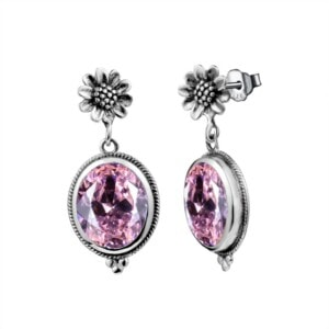 Blossom Earrings Silver (Pink Tourmaline)