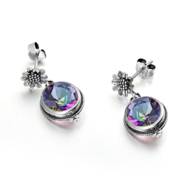 Blossom Earrings Silver (Mystic Fire Topaz)
