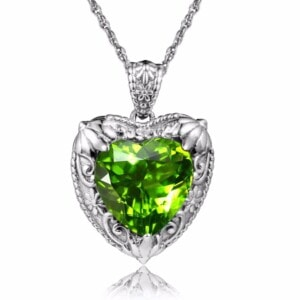 Victorian Heart Necklace Silver (Peridot)