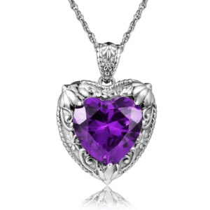 Victorian Heart Necklace Silver (Amethyst)