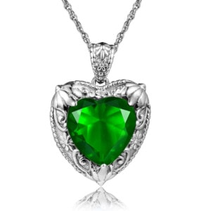 Victorian Heart Necklace Silver (Emerald)