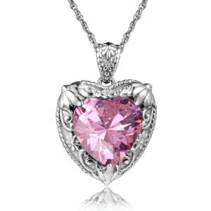 Victorian Heart Necklace Silver (Pink Tourmaline)