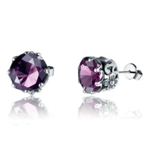Lure Stud Earrings Silver (Amethyst)
