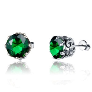 Lure Stud Earrings Silver (Emerald)