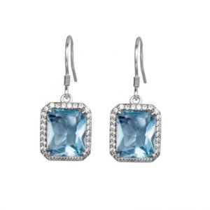 Revere Earrings Silver (Aquamarine)
