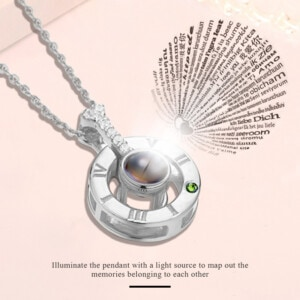 I Love You Necklace Silver (Peridot)