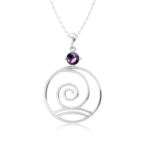 Elements Necklace Silver Wind (Amethyst)
