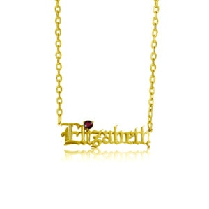 Custom Name Necklace 1 Gold (Garnet)