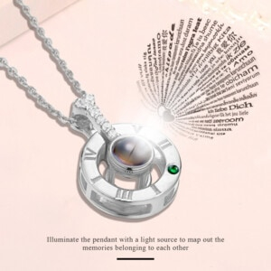 I Love You Necklace Silver (Emerald)
