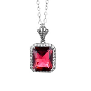 Revere Necklace Silver (Ruby)