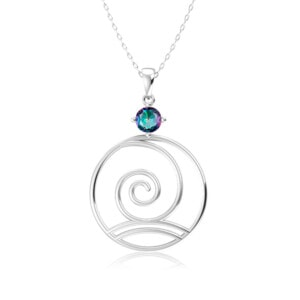 Elements Necklace Silver Wind (Mystic Fire Topaz)