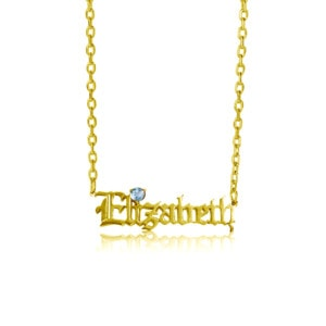 Custom Name Necklace 1 Gold (Aquamarine)