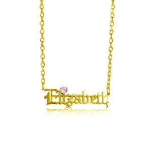 Custom Name Necklace 1 Gold (Pink Tourmaline)