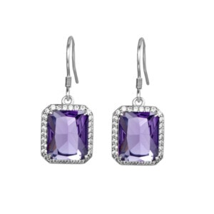 Revere Earrings Silver (Amethyst)