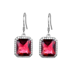 Revere Earrings Silver (Ruby)