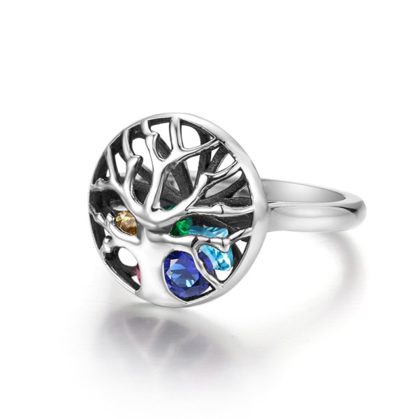 Family Tree Ring Silver (up to 8 stones)
