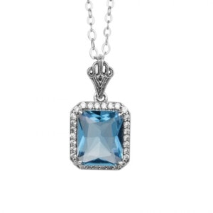 Revere Necklace Silver (Aquamarine)