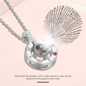 I Love You Necklace Silver (Ruby)