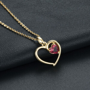 Devotion Heart Necklace Gold (Ruby)