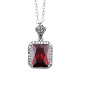 Revere Necklace Silver (Garnet)