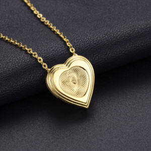 Strength Heart Necklace Gold